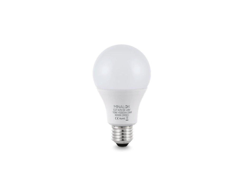 LED Žiarovka MINALOX A70 E27:10W:24V 3000K