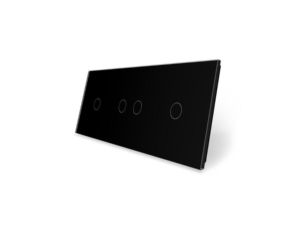 LIVOLO 1C-2C-1C-12 sklenený 3-rámik čierny