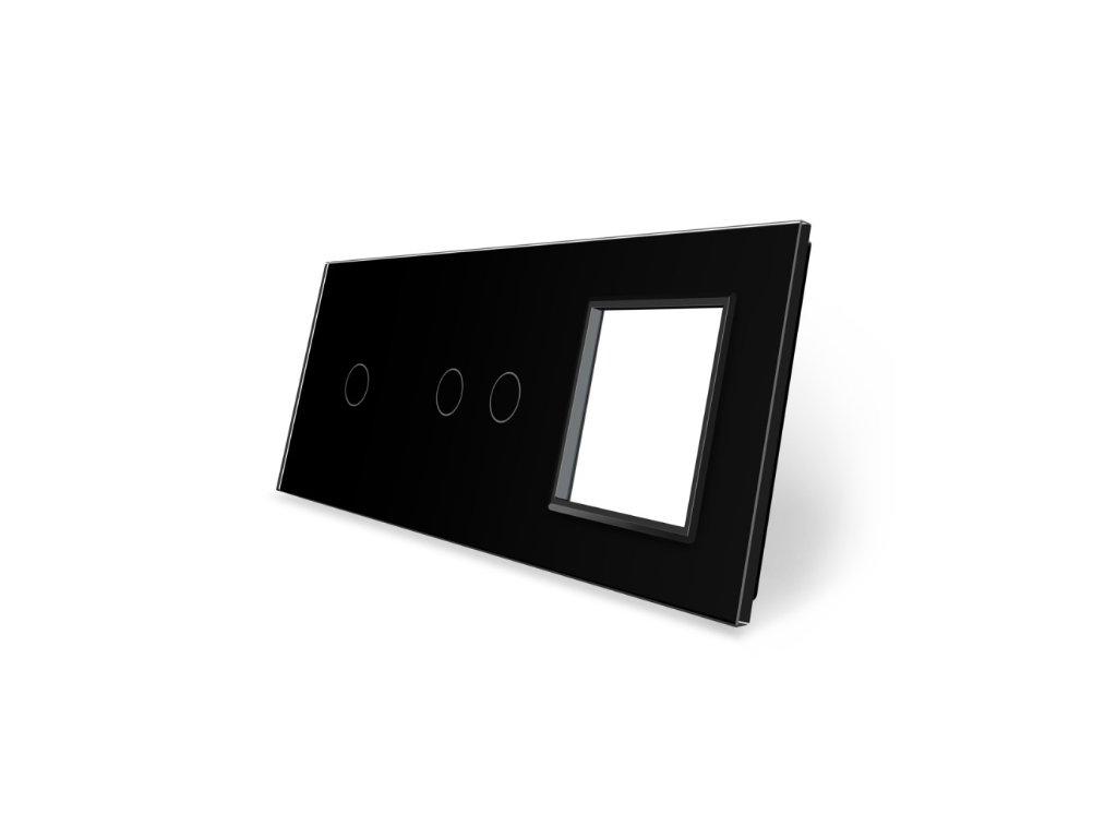 LIVOLO 1C-2C-SR-12 sklenený 3-rámik čierny