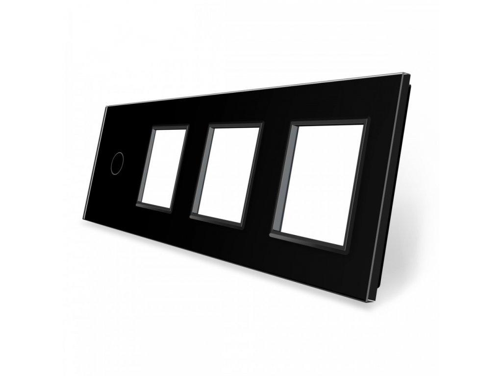 LIVOLO 1C-SR-SR-SR-12 sklenený 4-rámik čierny