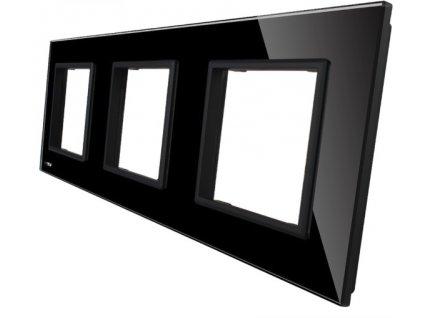 sklenený 3-rámik čierny