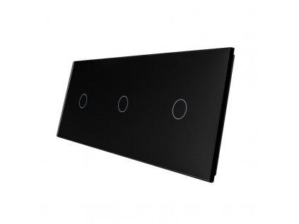 LIVOLO VL-C7-C1/C1/C1-12 sklenený 3-rámik čierny