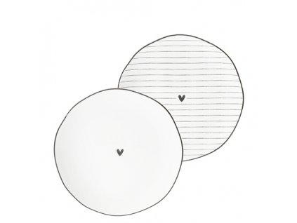 Side Plate Ass(2x12)white edge & heart black 13cm