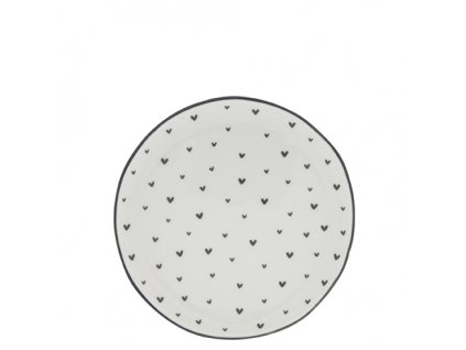 Cake Plate 16cm White Little Heart in Black