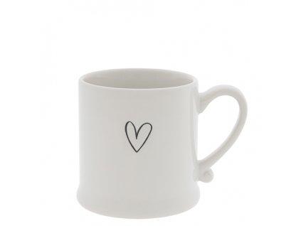 Mug White Heart in Black 8x7 cm