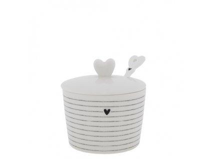 Sugar Bowl White Stripes&Spoon in black 7x8.5x7cm