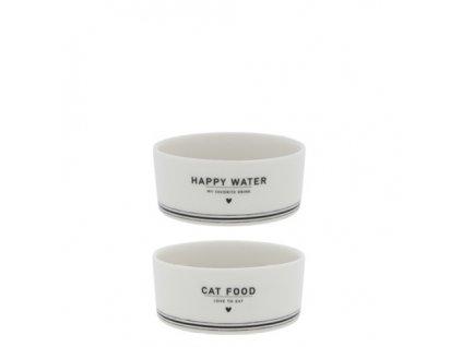 SET MISEK PRO KOČKU /Bowl White CAT Food/Water in Bl 9.5x4 cm