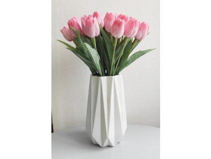 Váza bílá s reliéfem 25cm