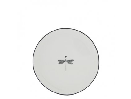 Cake Plate 16cm White Dragonfly