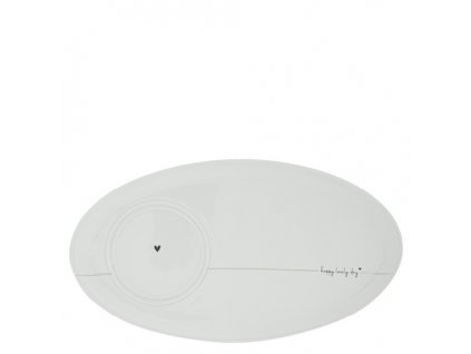 Oval Plate White Happy Lovely Day 25,5x14,5cm Double function