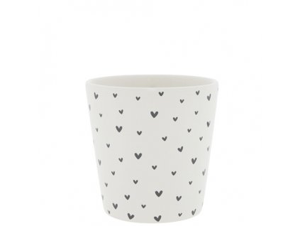 Cup White Little Hearts in Black