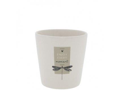Mug White Flower hearts in black
