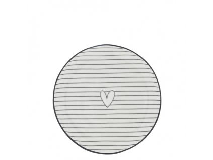 Cake Plate 16cm White Stripes and Hearts in Black
