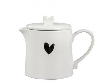 Teapot White w.Heart in Black