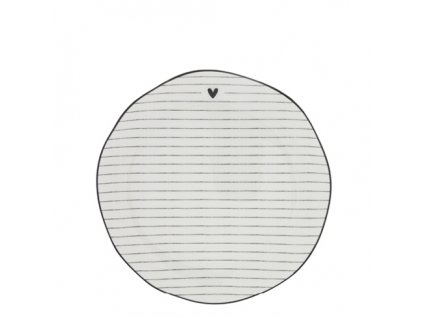 Dessert Plate Stripes White edge black 19 cm