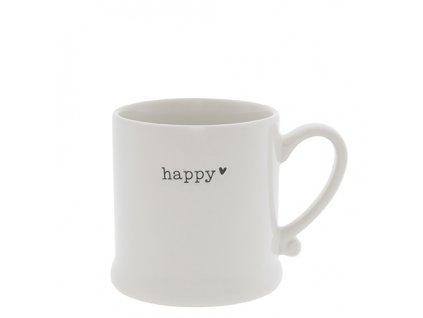 Mug White Happy in Black 8x7cm