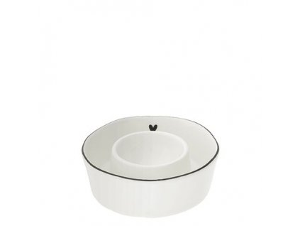 Egg Serving Cup white heart in black Dia 9x2.5cm