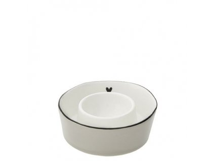 Egg Serving Cup titane heart in black Dia 9x2.5cm