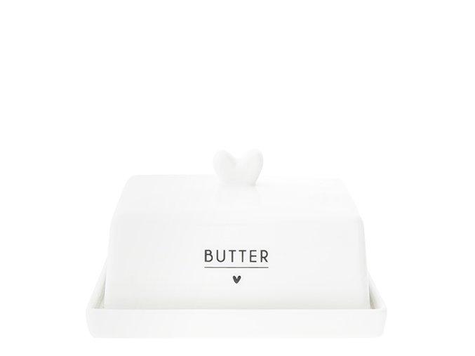 Butter Fleet white heart in black 12.2x14.7x8.1cm