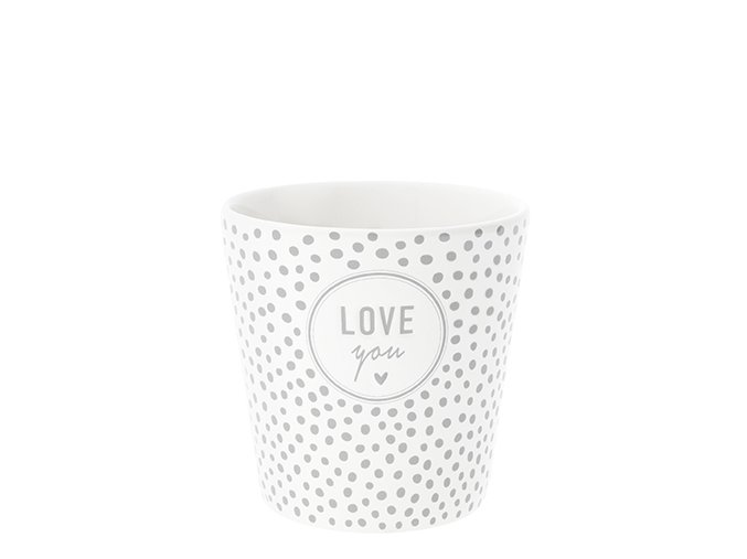 Cup Dots & love you in grey 9x9x7.5cm