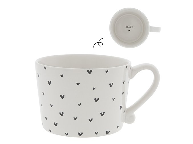 Cup White little Hearts in Black 10x8x7cm