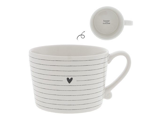 Cup White Stripes & Heart in Black 10x8x7cm