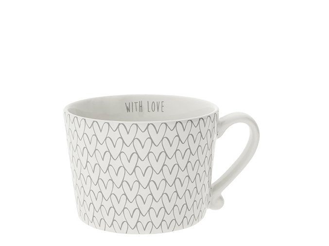 Cup white Heart pattern in Grey2