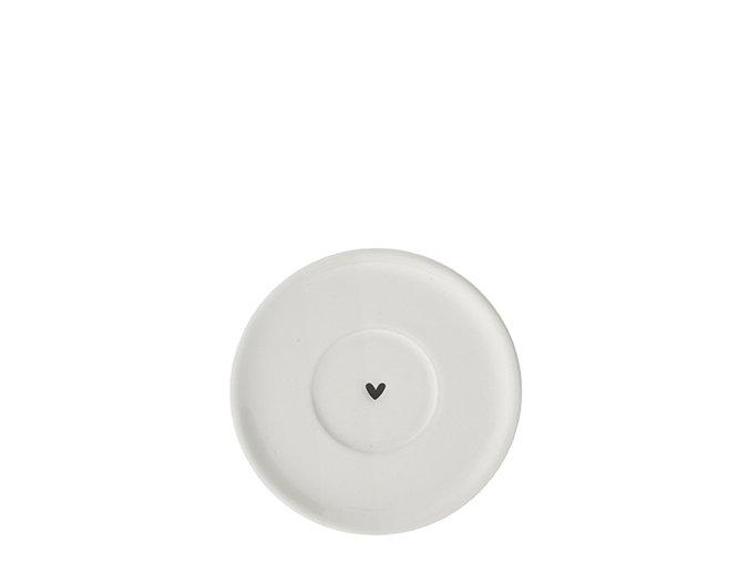 Espresso Plate White Heart black Dia 10cm