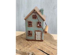 Keramický domeček tyrkysový 4 okýnka