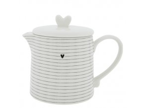 Teapot White w.Stripes in Black