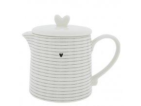 Teapot White w.Stripes in Black