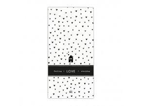 Napkin White Bl. Hearts Love 16 pcs 10x20cm