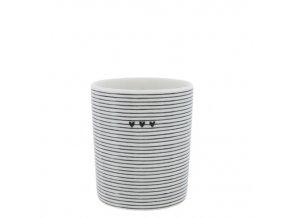 Mug White stripes 3 hearts in black