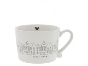 Cup White Canal Houses in Black 10x8x7cm