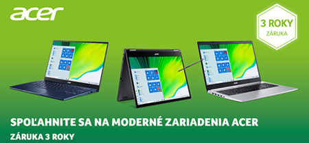 Notebooky Acer s 3 ročnou zárukou