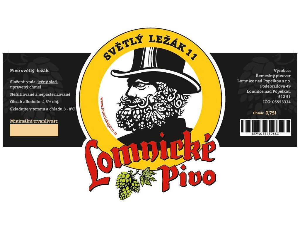 Etiketa Lomnické pivo Světlý ležák 11%, 0,75L