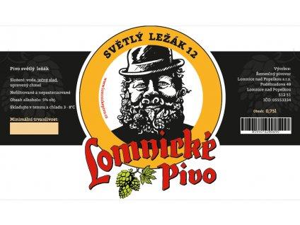 Etiketa Lomnické pivo Světlý ležák 12%, 0,75L