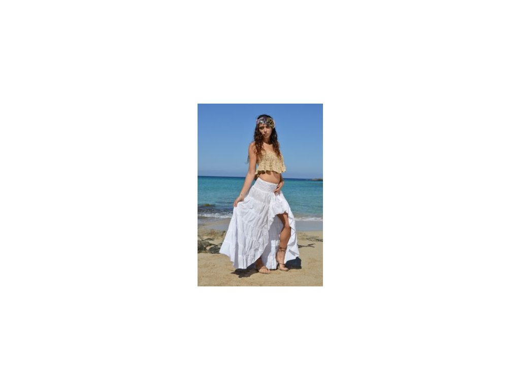 bílá sukně v boho stylu