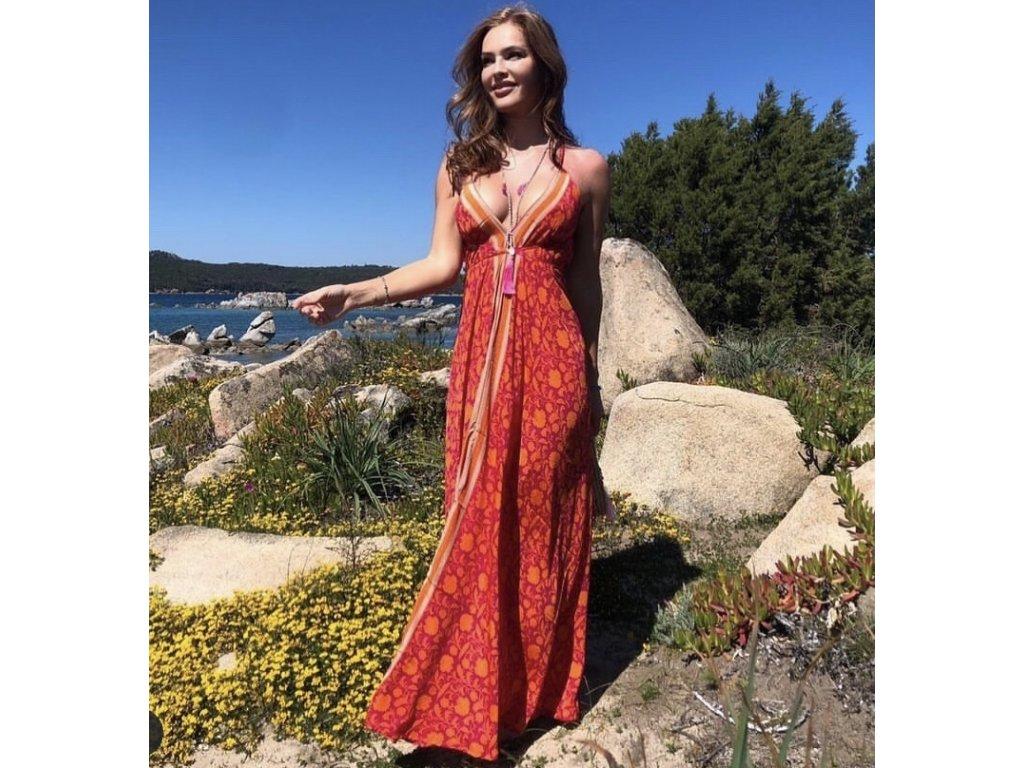 Hedvábné dlouhé letní šaty