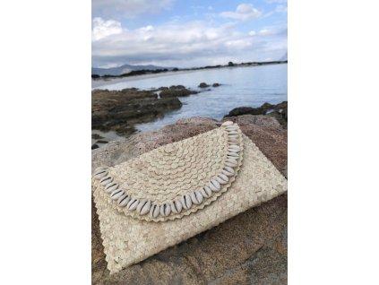 Plážová taška psaníčko s mušličkami
