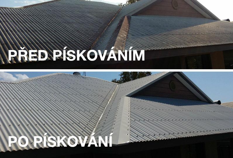 Ukázka-střechy-před-po-pískování