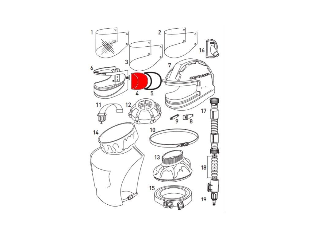 Vnitřní ochranná folie pro tryskací kuklu Aspect Contracor