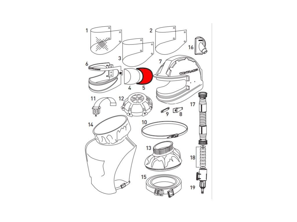 gumové těsnění hledí pro tryskací kuklu Aspect Contracor