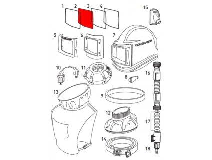 Skleněný štítek vnější pro ochrannou kuklu Comfort Contracor