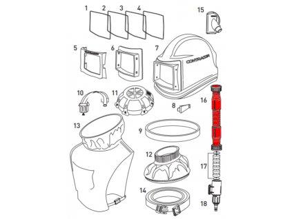 přívodní hadice pro ochrannou tryskací kuklu Comfort /Aspect Contracor