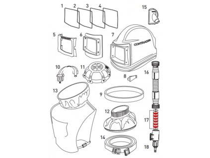 Tlumič hluku do regulátoru tlaku pro ochrannou kuklu Comfort a Aspect Contracor