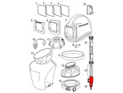 regulátor tlaku vzduchu pro ochrannou tryskací kuklu Comfort a Aspect Contracor