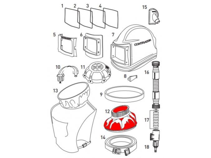 vnitřní límec do ochranné tryskací kukly Comfort a Aspect Contracor