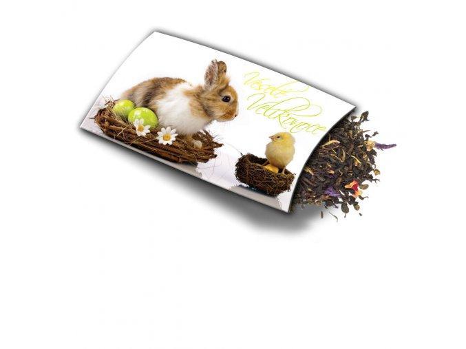 Pohled s dárkem Velikonoce - králík a kuře