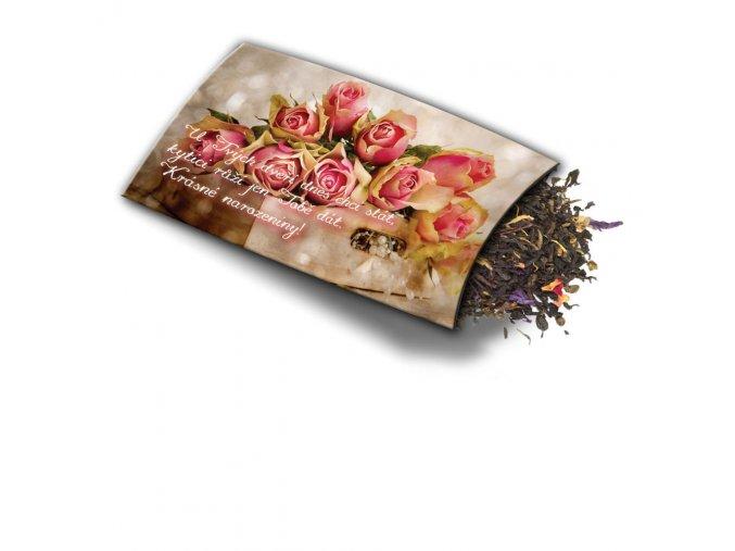 Pohled s dárkem: Růže k narozeninám